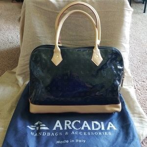 ARCADA Black Patent Purse with dust cover pouch